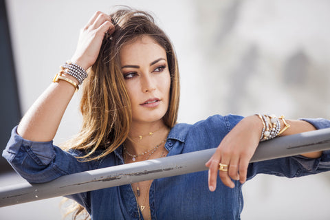denim shirt trends, layered jewelry, agate slice necklace, sahira jewelry design, west palm beach