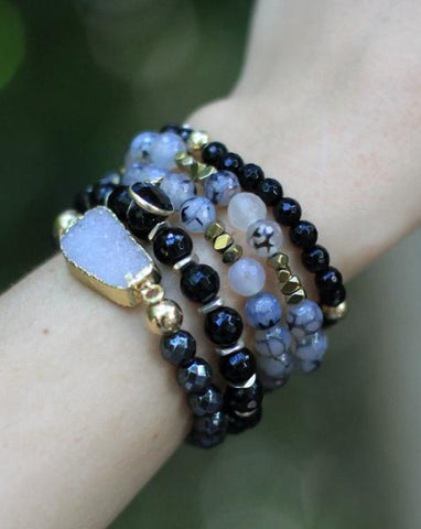 Sangie Palm Beach Stack, Onyx bead bracelet, Sangie Jewelry, Arm Candy