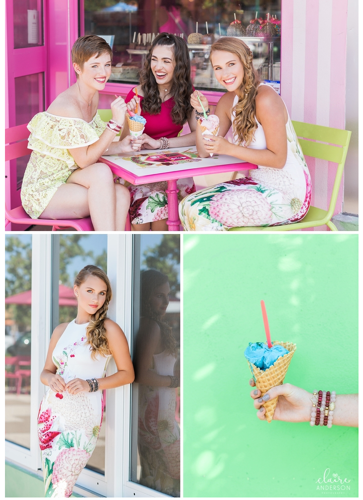 claire anderson photo, ice cream colorful photoshoot,Sangie Palm Beach, Senior Style Guide, Mara Hoffman, Fort Lauderdale By the Sea, Tropical Photoshoot, Sangie Bracelet Stacks, Claire Anderson Photo, Sangie Bracelets, Handmade Jewelry, Senior Photos, fort lauderdale by the sea, colorful photoshoot, alexis yellow romper, bloomindale's dress, editorial photoshoot