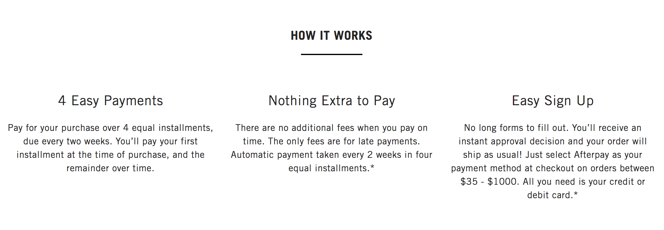 afterpay program, easy pay, payment installments, sahira jewelry design