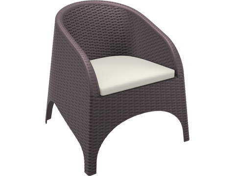 Aruba Armchair - Chocolate - with Cushion