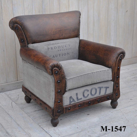 Alcott Large Vintage Arm Chair - M1547 - Bar The Stool