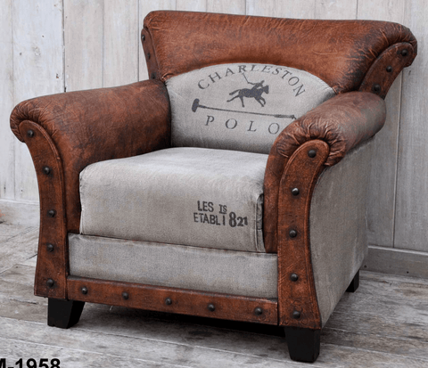 Charleston Polo Vintage Armchair - Bar The Stool