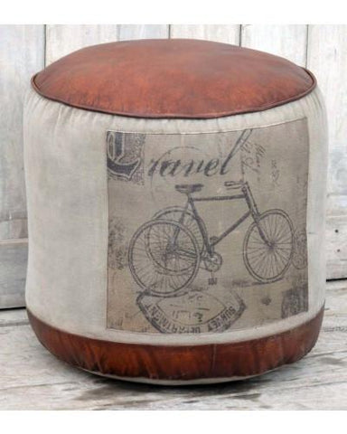 Vintage Bicycle Round Ottoman - M1807 Ottoman Bar The Stool