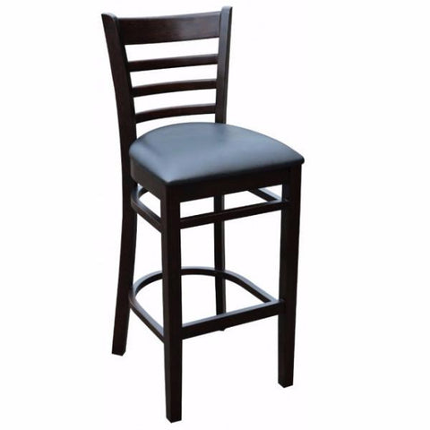 Florence High Back Bar Stool - Vinyl Seat - Timber Bar Stools - Chocolate