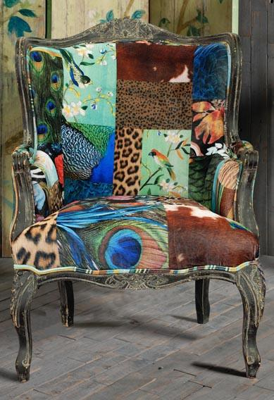 European Designed Patterned Armchair - Accent Chairs - X35406 Armchair Bar The Stool