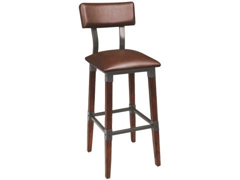 Genoa Barstool - Vinyl Seat - With Back Bar Stool Bar The Stool