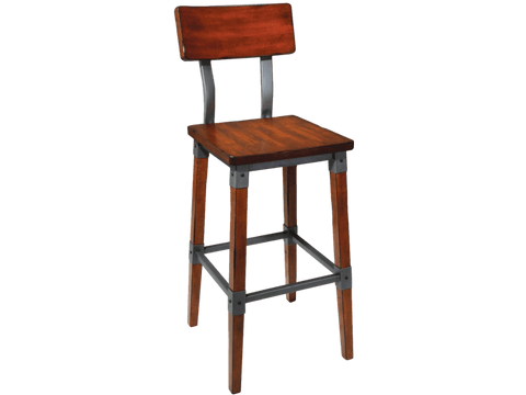 Genoa Barstool - Timber Seat - With Back Bar Stool Bar The Stool