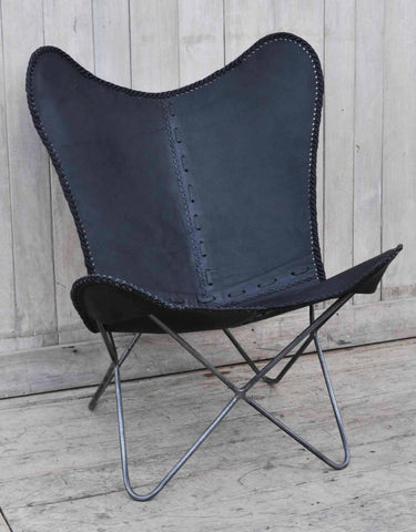 Hand Made Hand Crafted Black Butterfly Leather Chair - M5966 - Bar The Stool
