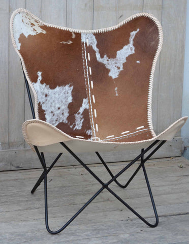 Hand Made Hand Crafted Butterfly Cow Chair - Unique Furniture