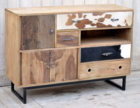 Hardwood Chest Of Drawers With Cow Pattern And Hand Carved - M8026