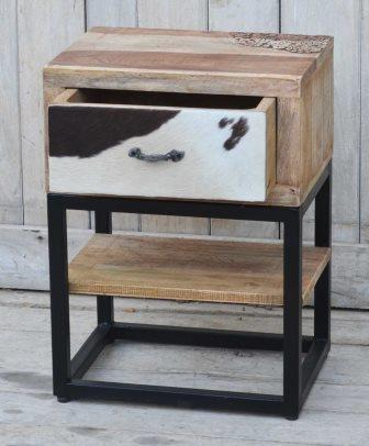Hardwood Cowhide Bedside Rustic Side Table Carved - Opened