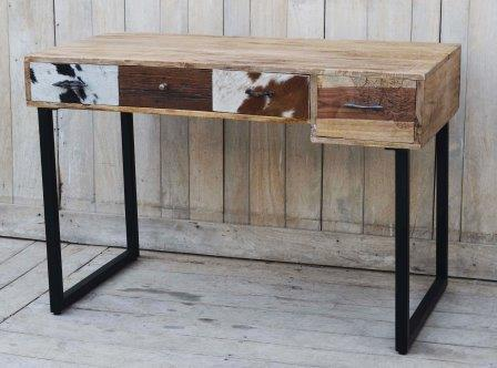 Hardwood Cowhide Console Rustic Side Table Hand Carved - Front Right