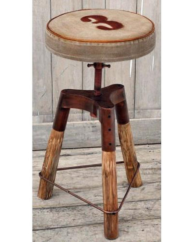Industrial No. 3 Wind Up Bar Stool - Rustic Bar Stools