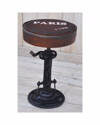 Industrial Paris Wind Up Cast Iron Bar/Kitchen Stool - M1741 - Bar The Stool