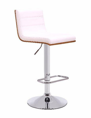 Studio 54 Gas Lift Bar Stool  - JY1916 Timber Framed Seat with White Cushion - Chrome Pedestal - Front Side