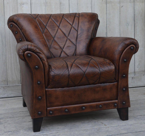 Studded Leather Armchair - M10368 Armchair Bar The Stool