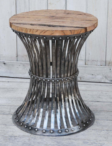 Inverted Wood And Iron Stool - Unique Bar Stools - M10386 Low Stools Bar The Stool