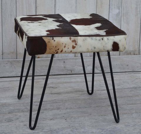 SQUARE COWHIDE STOOL  - M10398 Low Stools Bar The Stool
