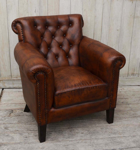 CHOCOLATE LEATHER ARM CHAIR - M11097