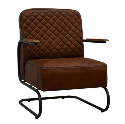 Di Maggio Leather And Timber Industrial Armchair M12048