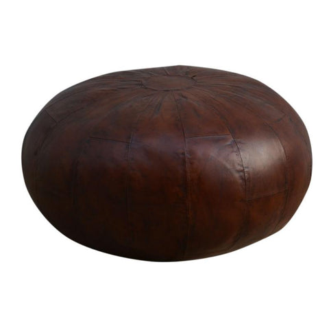 Large Coffee Leather Ottoman | Cool Ottomans | M14902