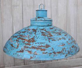 Blue Wash Iron Industrial Lampshade - M2713