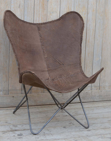 BROWN LEATHER BUTTERFLY CHAIR - M5330