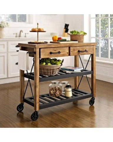 Hardwood Butlers Trolley On Wheels - M5441