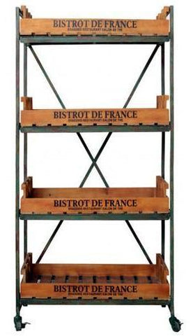 Industrial Bistrot De France Bookcase On Wheels - M5444