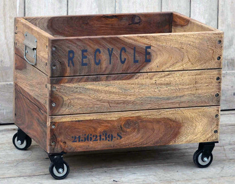 Industrial Recycle Basket On Cast Iron Wheels - Unique Furniture - Front Right