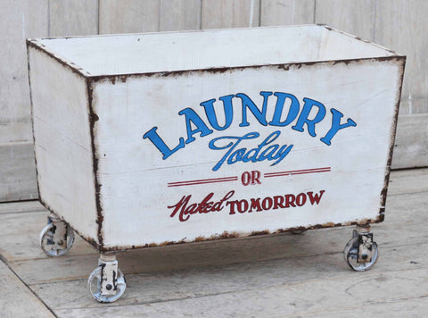 Industrial Recycle Laundry Basket On Cast Iron Wheels - Unique Furniture