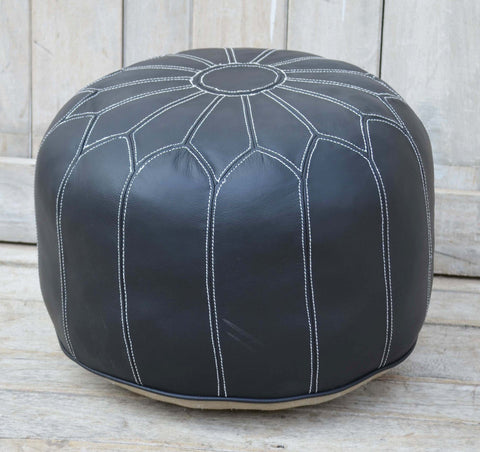 MORROCAN LEATHER OTTOMAN BLACK - M7457blk