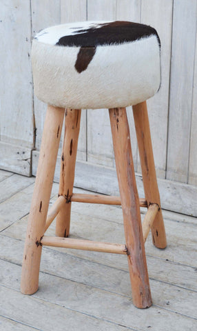 Cowhide Timber Bar Stools