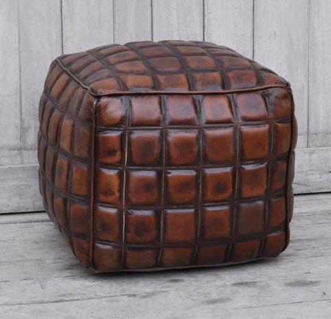 CHECKERED LEATHER OTTOMAN - M8378