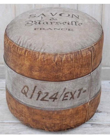 Savon France Round Hand made Ottoman - M1781 - Bar The Stool