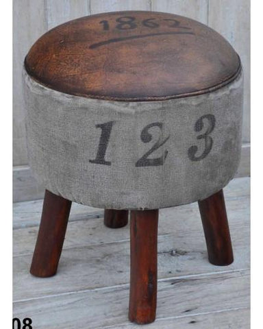 Vintage 1862 Round Stool - M1808 - Bar The Stool