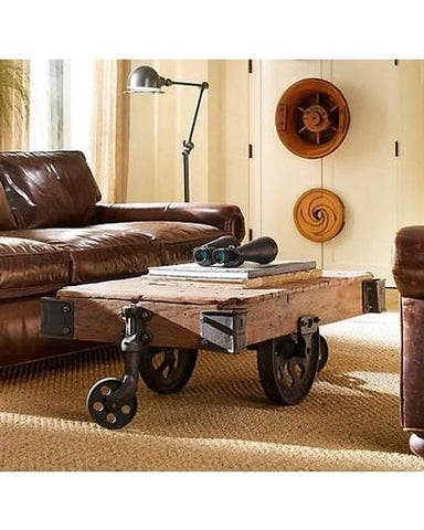 Old Railway Sleeper Industrial Cart Coffee Table - Cart-1