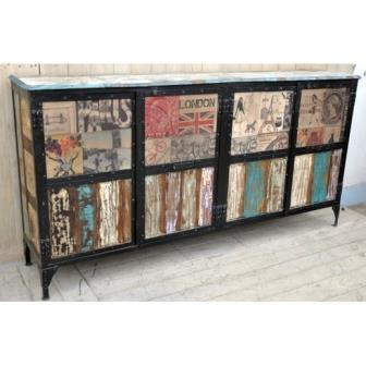 Large Industrial Designer European Sideboard- Rustic Side Table