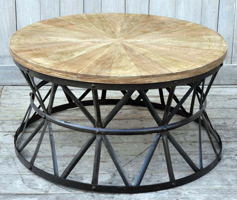 Cast Iron Round Coffee Table Handmade - M4056