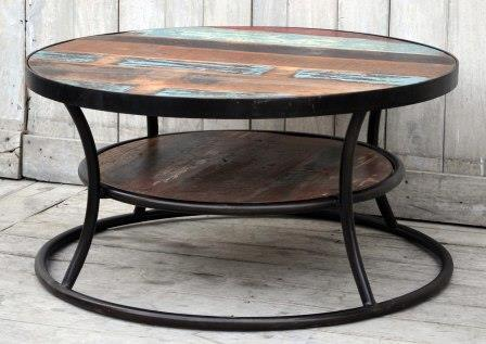 The Wally Tire Shaped Hardwood Mango And Cast Iron Round Coffee Table -  M8137 Furniture Bar The Stool