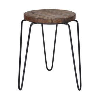 Concept Tripod Iron Elm Stool | Black