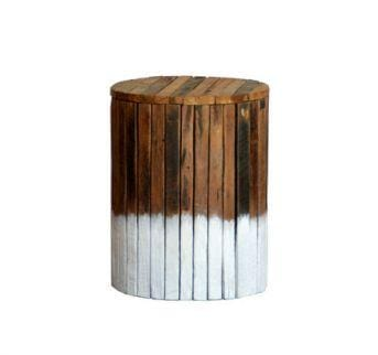 Driftwood Stool | Round Seat | Side Table | Low Stool - white
