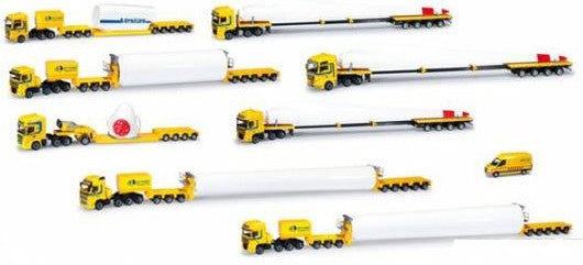 #WT-101 - 9-Piece Wind Turbine Parts Trucks Delivery Set (made by Herpa)