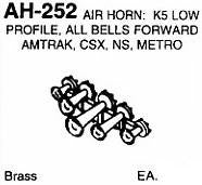 #DW-AH-252 AIR HORN: K5, ALL FORWARD, AMTRAK, NS, CSX  1 EA.