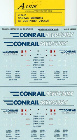#25816 - Conrail Mercury 53 ft (Gray Containers - does 3-53 ft)