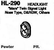 "#DW-HL-290 HEADLIGHT: ""MARS"" TWIN SIGNAL LIGHT, NOSE TYPE, D&RGW, OTHERS  PR."