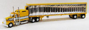 #T-SPT-3249 	Kenworth W900 Tractor w/53 ft Reefer Trailer -Yellow, Gray w/Chrom Trailerer