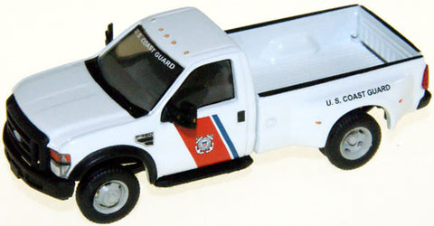 "#RPT-5155.24 2008 F-350XL regular cab white Coast Guard, DRW(no flares)black grille and bumpers, 17"" black wheels"