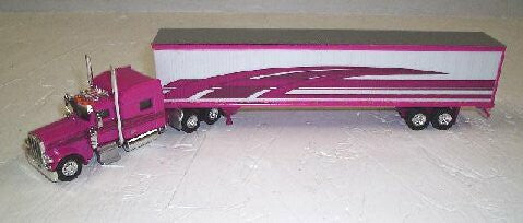 #T-7007 	Multi-Pink Peterbilt 389 with 70 in Sleeper with 53 ft Dry Van